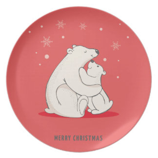 Cute Red Christmas Polar Bears Melamine Plate