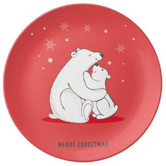 Cute Red Christmas Polar Bears Porcelain Plate