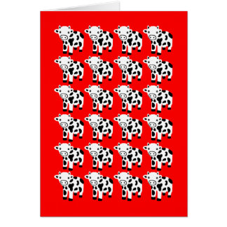 Cute Red Cow Art Blank Greeting Card Gift