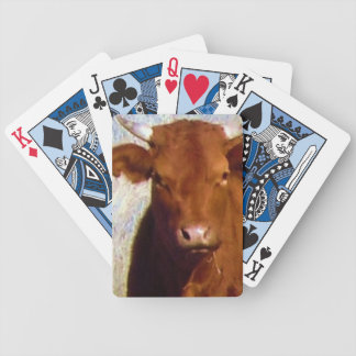 Cute Red Cow Cattle with Horns Face Western Bicycle Playing Cards