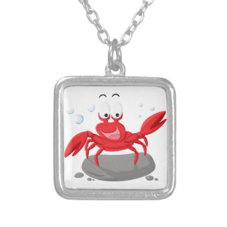 Cute red crab silver plated necklace