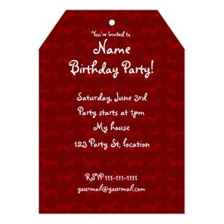 Cute red dachshund pattern 5x7 paper invitation card