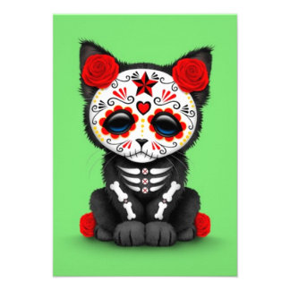 Cute Red Day of the Dead Kitten Cat green Personalized Announcement