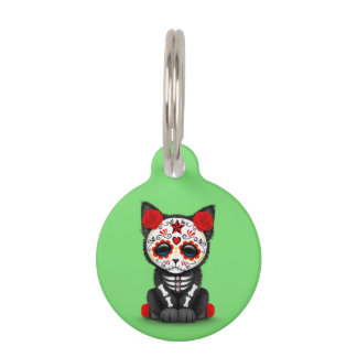 Cute Red Day of the Dead Kitten Cat, Green Pet Name Tag