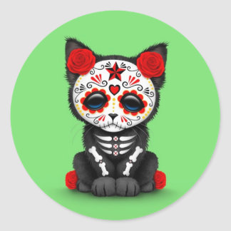 Cute Red Day of the Dead Kitten Cat, green Classic Round Sticker