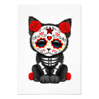 Cute Red Day of the Dead Kitten Cat Personalized Invite