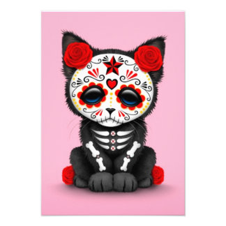 Cute Red Day of the Dead Kitten Cat pink Personalized Announcements