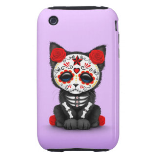 Cute Red Day of the Dead Kitten Cat purple Tough iPhone 3 Cases