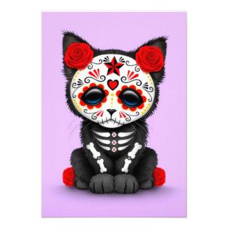 Cute Red Day of the Dead Kitten Cat purple Invite