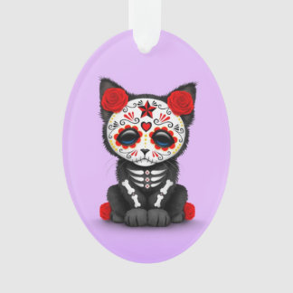 Cute Red Day of the Dead Kitten Cat, purple Ornament