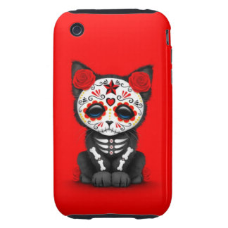 Cute Red Day of the Dead Kitten Cat red Tough iPhone 3 Cases