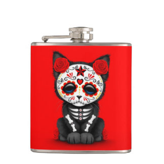 Cute Red Day of the Dead Kitten Cat, red Flasks