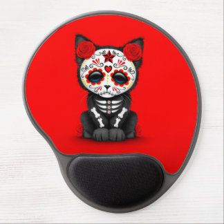 Cute Red Day of the Dead Kitten Cat, red Gel Mouse Pad