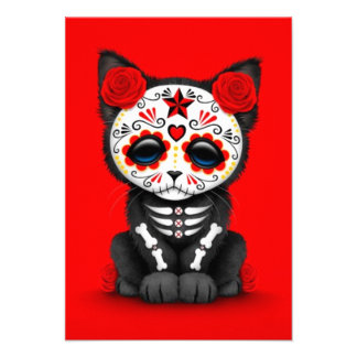Cute Red Day of the Dead Kitten Cat red Custom Announcements
