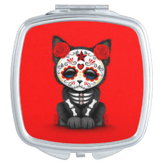Cute Red Day of the Dead Kitten Cat, red Makeup Mirror