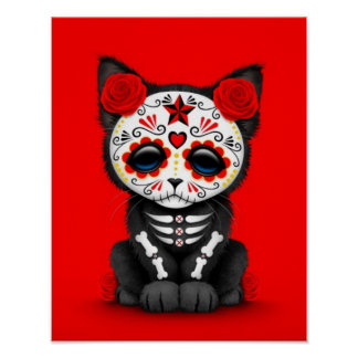 Cute Red Day of the Dead Kitten Cat, red Poster