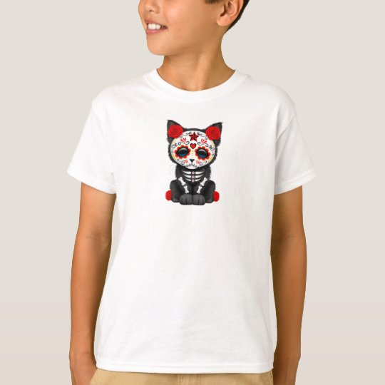 Cute Red Day of the Dead Kitten Cat T-Shirt