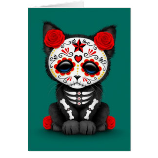 Cute Red Day of the Dead Kitten Cat, teal blue Card