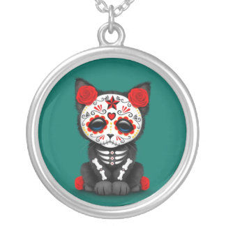 Cute Red Day of the Dead Kitten Cat teal blue Necklace