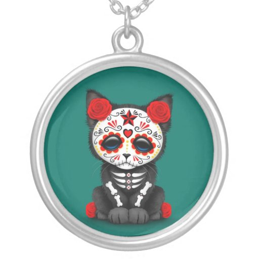 Cute Red Day of the Dead Kitten Cat, teal blue Necklace