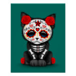 Cute Red Day of the Dead Kitten Cat, teal blue Poster