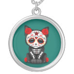 Cute Red Day of the Dead Kitten Cat, teal blue Round Pendant Necklace