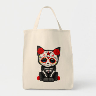 Cute Red Day of the Dead Kitten Cat Tote Bag