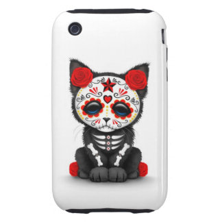 Cute Red Day of the Dead Kitten Cat white iPhone 3 Tough Cases