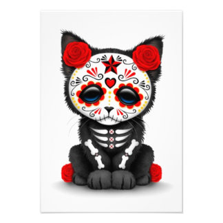 Cute Red Day of the Dead Kitten Cat white Personalized Announcement