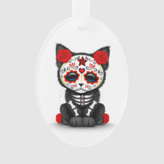 Cute Red Day of the Dead Kitten Cat, white Ornament