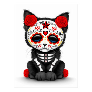Cute Red Day of the Dead Kitten Cat, white Postcard