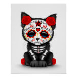 Cute Red Day of the Dead Kitten Cat, white Print