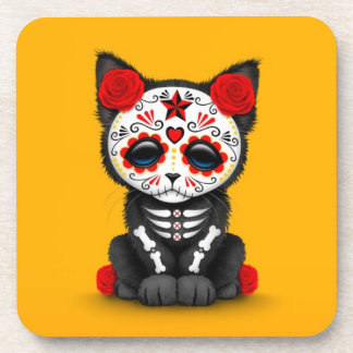 Cute Red Day of the Dead Kitten Cat, yellow Coaster