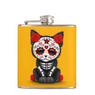 Cute Red Day of the Dead Kitten Cat, yellow Flasks