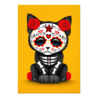 Cute Red Day of the Dead Kitten Cat yellow Announcements