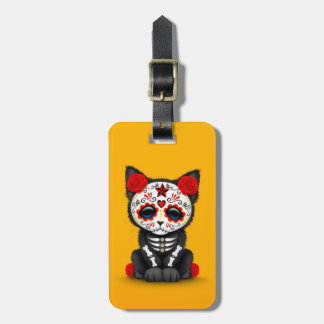 Cute Red Day of the Dead Kitten Cat, yellow Bag Tag