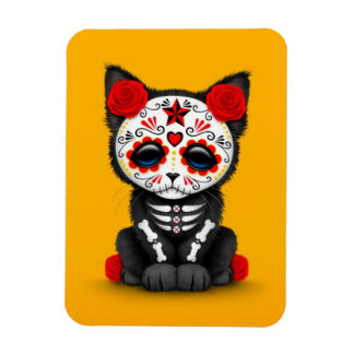Cute Red Day of the Dead Kitten Cat, yellow Flexible Magnet