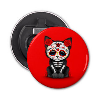 Cute Red Day of the Dead Kitten Cat Button Bottle Opener