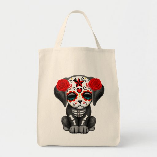 Cute Red Day of the Dead Puppy Dog Canvas Bags