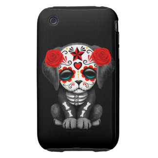 Cute Red Day of the Dead Puppy Dog Black Tough iPhone 3 Covers