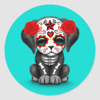 Cute Red Day of the Dead Puppy Dog Blue Classic Round Sticker