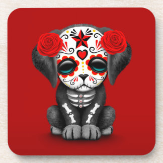 Cute Red Day of the Dead Puppy Dog Drink Coaster