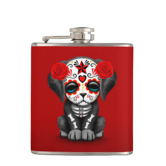 Cute Red Day of the Dead Puppy Dog Flasks