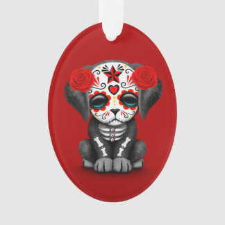 Cute Red Day of the Dead Puppy Dog Ornament