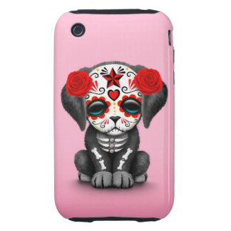 Cute Red Day of the Dead Puppy Dog Pink Tough iPhone 3 Covers
