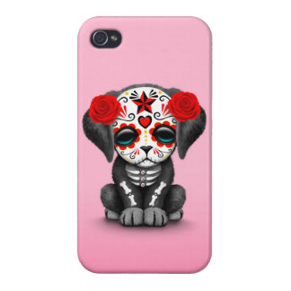 Cute Red Day of the Dead Puppy Dog Pink iPhone 4 Cases