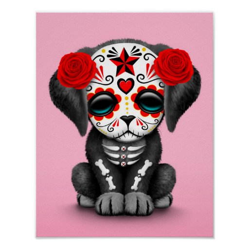 Vintage Day Of Dead Colorful Print: Cute Red Day Of The Dead Puppy Dog Pink Posters