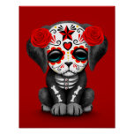 Cute Red Day of the Dead Puppy Dog Poster