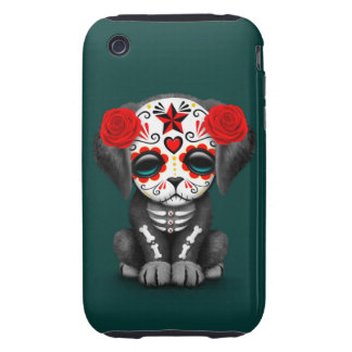 Cute Red Day of the Dead Puppy Dog Teal Tough iPhone 3 Cover