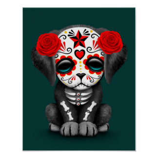 Cute Red Day of the Dead Puppy Dog Teal Poster
